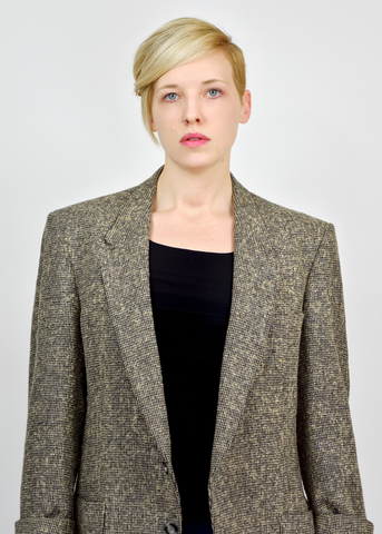 Unisex Vintage 1980s Georgio Sant Angelo Donegal Tweed Wool Blazer Jacket