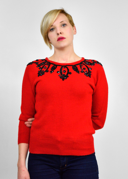 SOLD!!! 1950s Style Liz Claiborne Red and Black Beaded Sequin Sweater - S/M