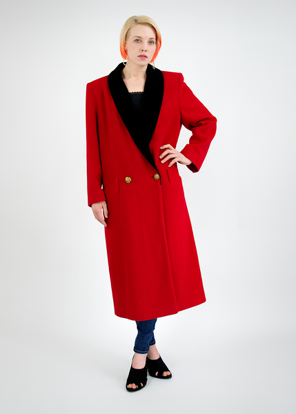 Vintage 1980's London Fog Long Red Wool Coat with Black Velvet Trim (M/L)