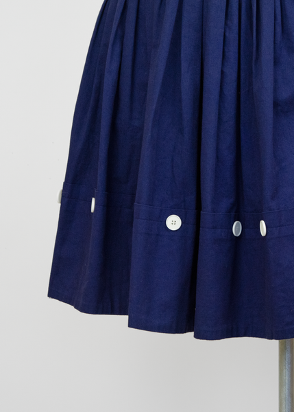 Vintage 80s Esprit Mini Skirt | 1980s Pleated Navy Blue Cotton Skirt (XS)