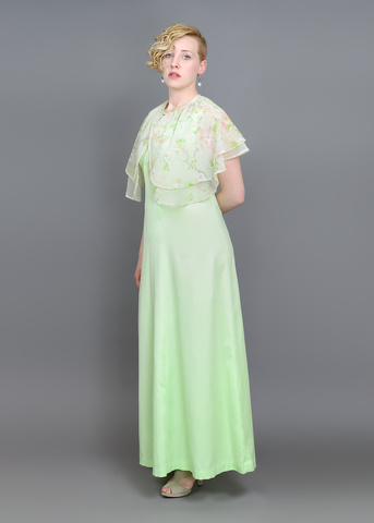 Vintage 70s Evening Gown | 1970s Green Maxi Dress + Sheer Floral Capelet (S/M)
