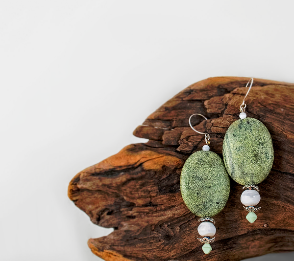Bohemian Green Sepentine Drop Earrings w/ Moonstone & Sterling Silver Accents