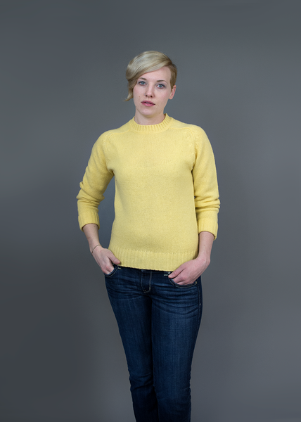 Vintage 80s Light Yellow Wool Pullover Sweater | Womens 1980s Lands End