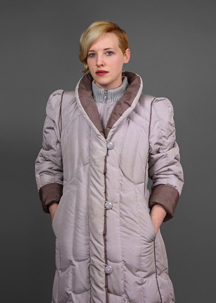 Sold Vintage 80s Puffer Coat 1980s Grey Amp Mauve