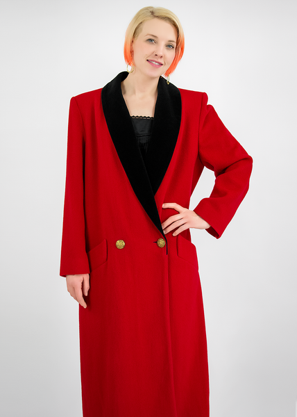 Vintage 1980's London Fog Long Red Wool Coat with Black Velvet Trim