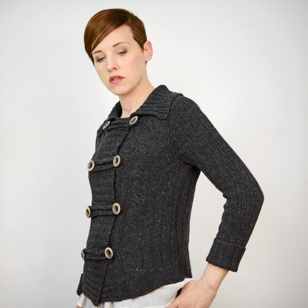 Vintage 70s Cardigan | 1970s Grey Cable Knit Sweater w/ Toggle Buttons S/M