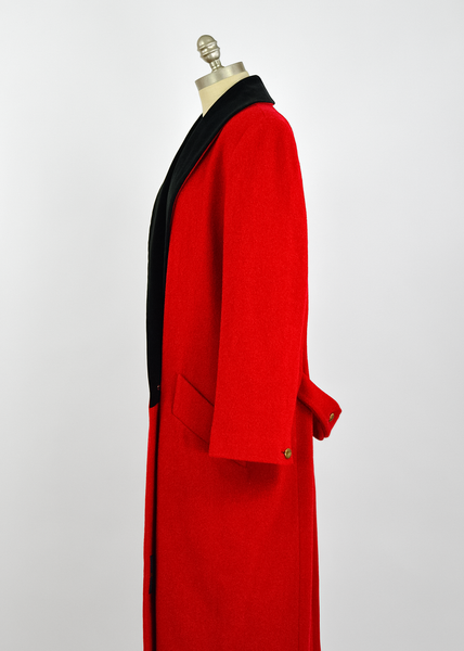Vintage 1980s London Fog Double Breasted Red Wool Coat with Black Velvet Trim (L)