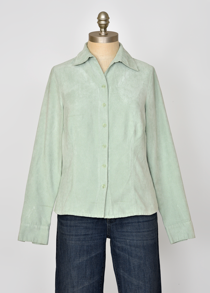 Vintage 90s Blouse | 1990s Mint Green Faux Suede Button Up Shirt S/M
