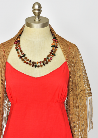 Vintage 70s Bohemian Jewelry | 1970s Long Beaded Seed and Nut Necklace, 24""