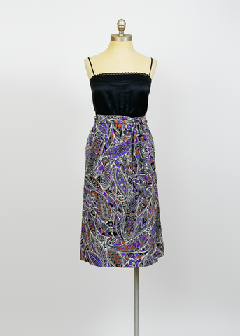 Vintage 80s Skirt | 1980s African Tribal Print Paisley Skirt with Belt (S/M)