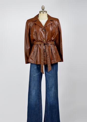 Vintage 70s Brown Leather Jacket | 1970s Belted Short Leather Coat (M/L)