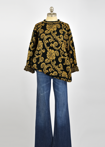 Vintage 80s Sweater | 1980s Metallic Gold and Black Floral Sweater (L/XL)
