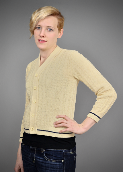 Vintage 1960s Beige Cable Knit Cardigan Sweater with Navy Blue Trim
