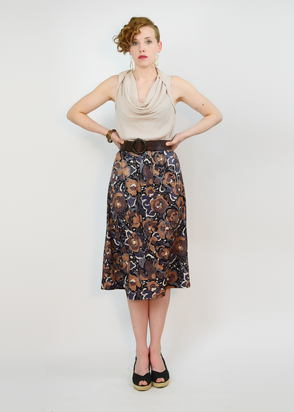 Vintage 70s Floral Skirt | 1970s Brushstroke Abstract Flower Print Midi Skirt (M/L)