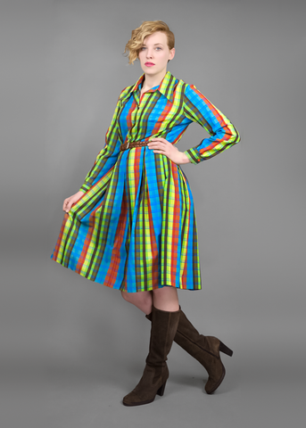 Vintage 60s Mod Shirt Dress | 1960s Striped Plaid Cotton Shirtwaist Dress (M/L)