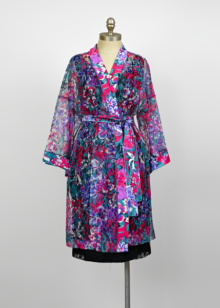 Vintage 80s Satin & Lace Robe | 1980s Bright Floral Kimono Sleeve Duster Jacket