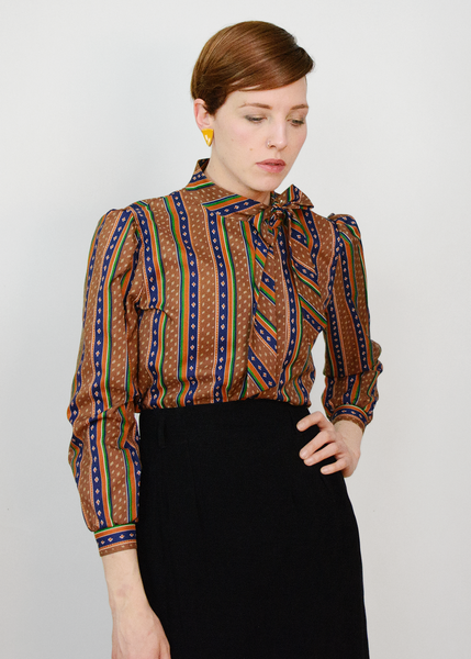 Vintage 70s Pussy Bow Secretary Blouse | 1970s Brown Geometric Striped Blouse S/M