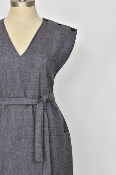 Vintage 70s Wool Dress | 1970s Minimalist Grey Plaid Jumper Dress | Belted Sleeveless V Neck Knee Length Dress with Pockets | Womens Size Medium Large | Red Plume Vintage Clothing