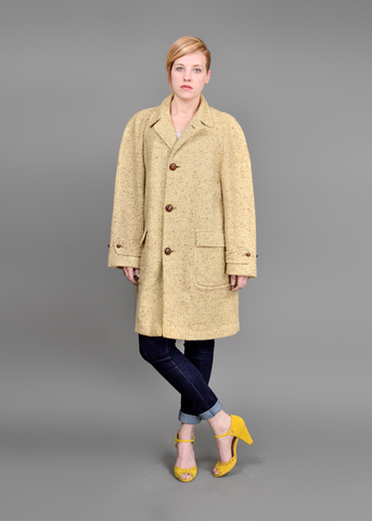 Vintage 80s English Tweed Coat | 1980s Oversize Beige Wool Cocoon Coat L/XL