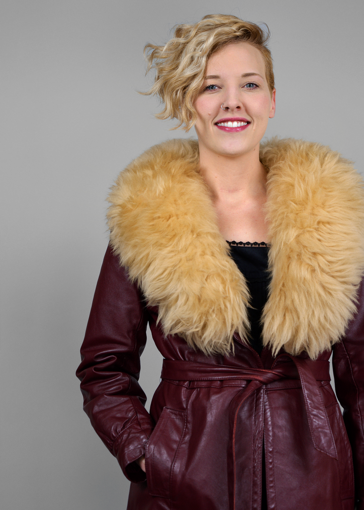 Sold Vintage 70s Leather Jacket Sheep Fur Collar Burgundy