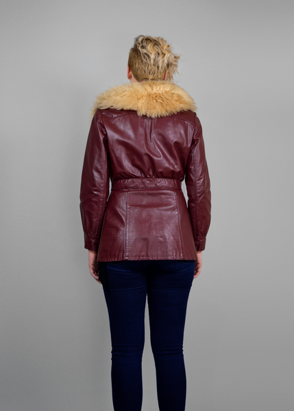 Vintage 70s Leather Jacket | Shaggy Sheep Fur Collar Burgundy Leather Coat | Womens Size Small to Medium | Red Plume Vintage Clothing