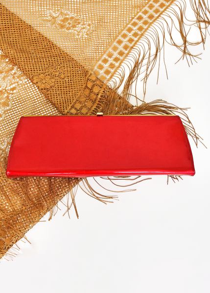 Vintage 60s Evening Bag | 1960s metallic Red Lamé Clutch Purse with Handle