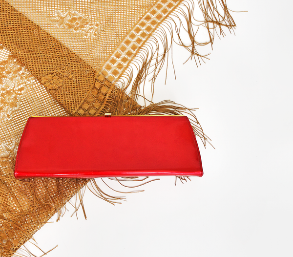 Vintage Accessories | 60s Evening Bag | 1960s metallic Red Lamé Clutch Purse with Handle | Rectangular Vegan Vinyl Handbag | Red Plume Vintage Clothing