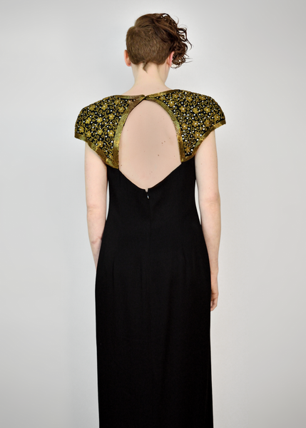 90s Evening Gown | 1990s Huey Waltzer Gold and Black Beaded Dress (M)