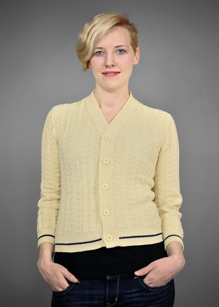 67cbd46b3 SOLD!!! Vintage 1960s Beige Cable Knit Cardigan Sweater with Navy ...