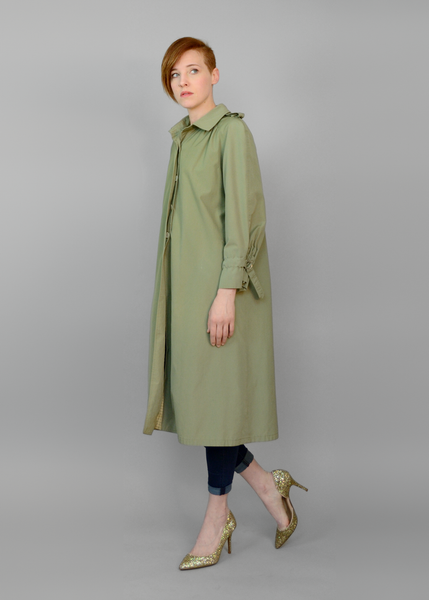 SOLD!!! Vintage 60s Trench Coat | 1960s Sage Green A Line Swing Jacket M/L