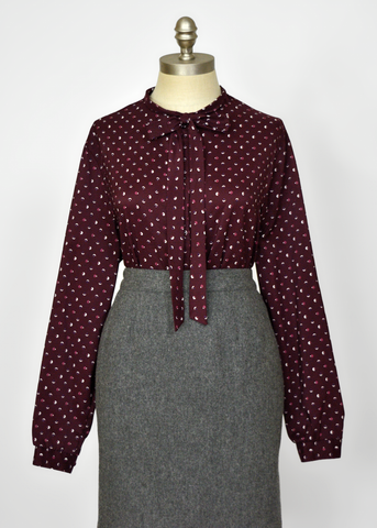 Vintage 70s Secretary Blouse | 1970s Abstract Print Burgundy Pussy Bow Top L/XL