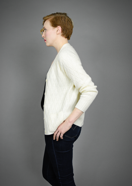 Vintage 60s Wool Cardigan - 1960s Cream Cable Knit Sweater - M