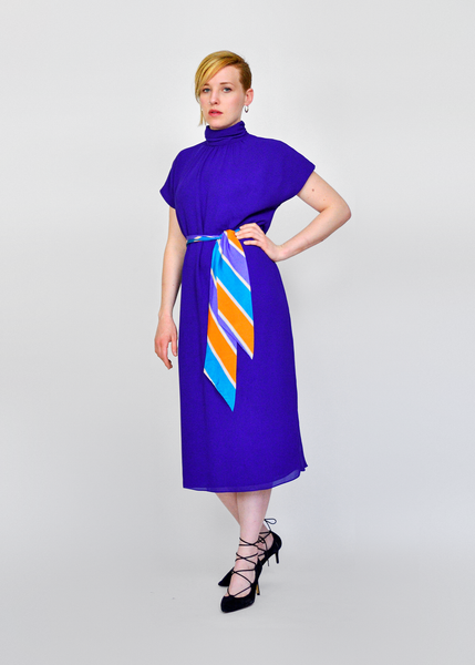 Vintage 80s Avant Garde Dress | 1980s Violet Chiffon High Collar Tent Dress with Striped Silk Belt | Short Sleeve Midi Dress | Spring Summer Fashion | Womens Size Medium Large | Red Plume Vintage Clothing