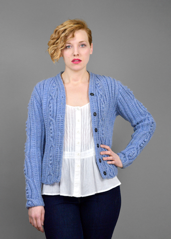 SOLD!!! Vintage 80s Hand Knit Sweater | 1940s Style Periwinkle Wool Cardigan