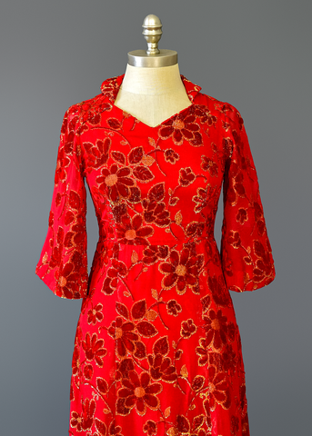 Vintage 40s Evening Gown | 1940s Gold Floral Brocade Red Velvet Dress (XS/S)