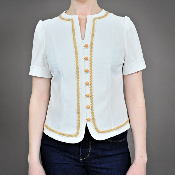 SOLD!!! Vintage 60s Top | 1960s Tailored White Day Blouse with Embroidered Trim