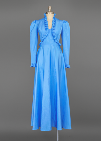 Vintage 70s Prom Dress | 1970s Blue Taffeta Gown and Bolero Jacket Set (XXS/XS)