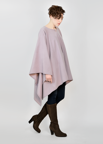 Vintage 80s Poncho Cloak | 1980s Light Purple Wool Cape by Harve Benard (OSFA)