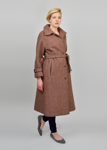 Vintage 70s Tweed Coat | 1970s Forcaster of Boston Mauve Wool Trench (M)