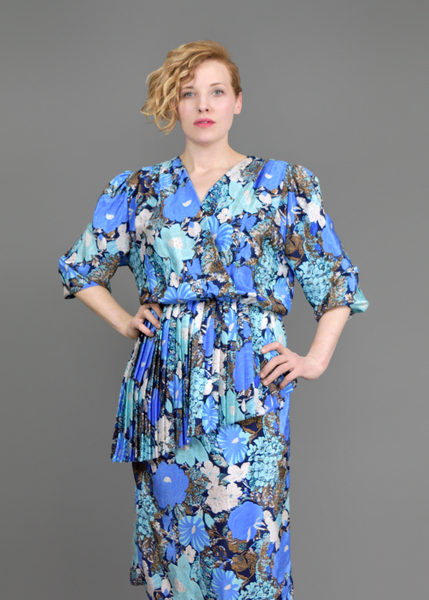 Vintage 80s Party Dress | 1940s Syle Blue Floral Print Peplum Dress | Puff Sleeve Plunging V Neck Pencil Skirt Dress with Accordion Pleated Ruffles | Spring Summer Fashion | Womens Size Medium Large M L | Red Plume Vintage Clothing