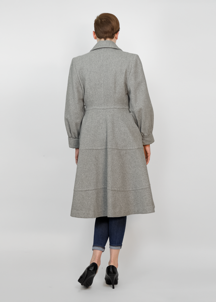 Vintage 40s Princess Coat | 1940s Grey Wool Dress Coat with Rhinestone Buttons (M)