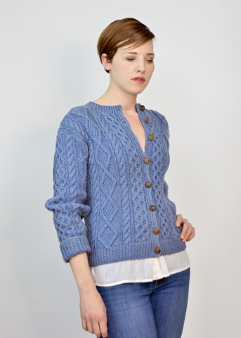 Vintage 60s Aran Fisherman Sweater | 1960s Blue Irish Wool Cardigan M/L