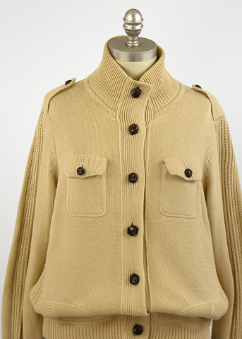 Vintage 90s Ralph Lauren Sweater | 1990s Beige Cotton Cardigan w/ Leather Buttons (L/XL)