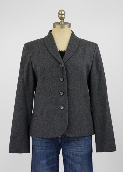 Vintage 70s Pendleton Blazer | 1970s Charcoal Grey Wool Suit Jacket (10/12/M/L)