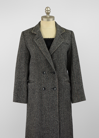 Vintage 70s Herringbone Tweed Coat | 1970s Charcoal Grey Wool Trench Coat (S/M)
