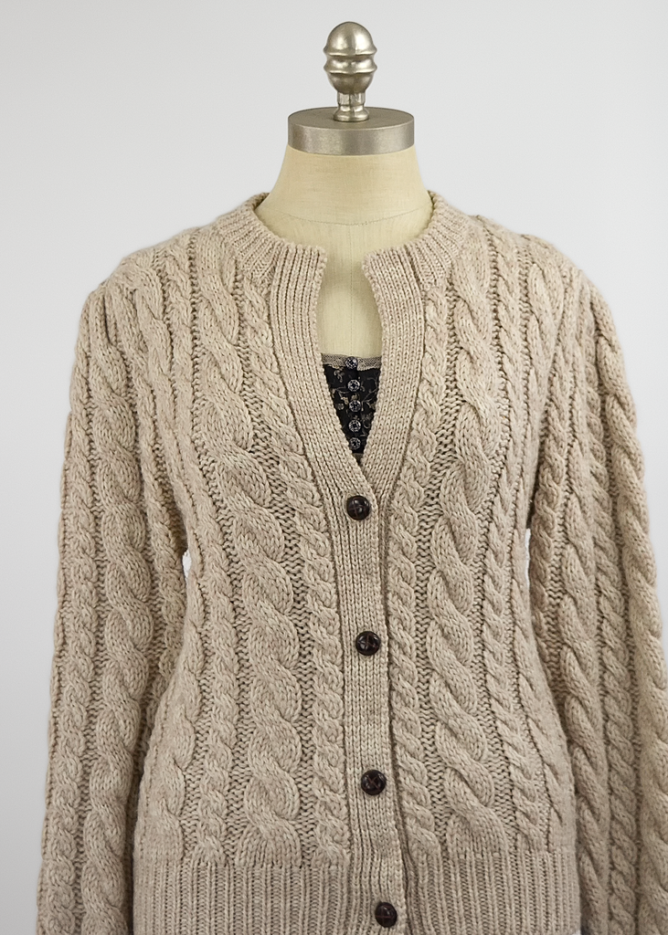 Vintage 80s Wool Cardigan | 1980s Susan Bristol Beige Cable Knit Sweater with Puff Sleeves (S/M)