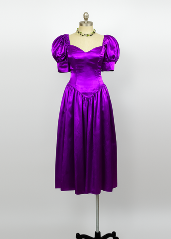 Vintage 80s Party Dress | 1980s Puff Sleeve Purple Satin Dress w/ Bow (XS/S)