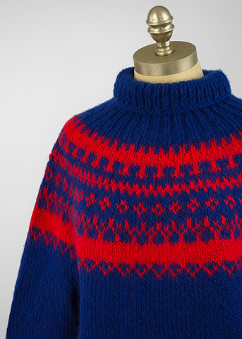 Vintage 60s Nordic Fair Isle Sweater | 1960s Red & Blue Hand Knit Wool Sweater (M/L)