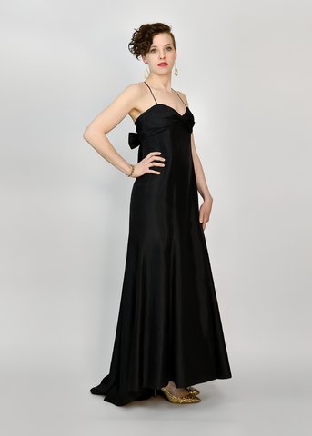 Vintage Jim Hjelm Evening Gown | 1980s Long Black Taffeta Dress w/ Bow (M)