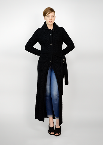 Vintage 90s Ralph Lauren Cardigan | 1990s Long Black Wool Sweater Coat (S/M)